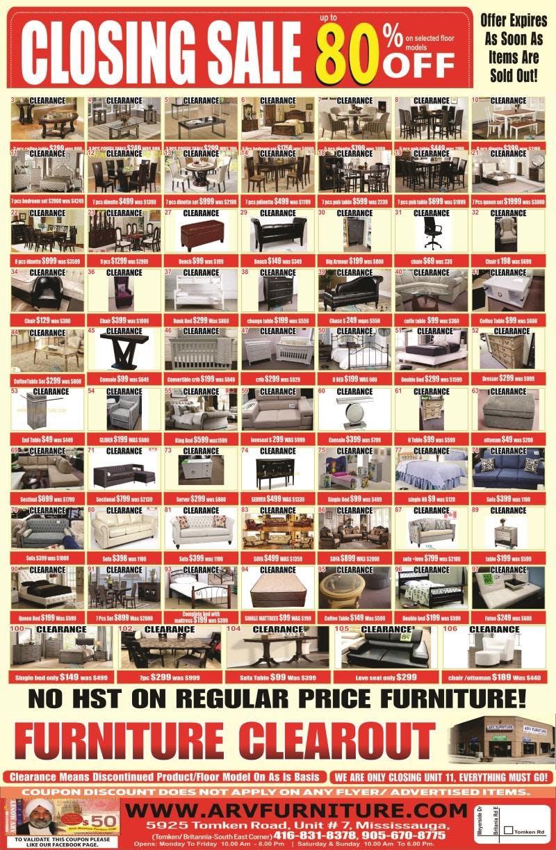 Closing Sale At ARV Furniture Mississauga Ontario Canada