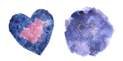 Valentines Constellation & Galaxy Watercolour Workshop, Oakville/Bronte, Saturday January 26th, 2019