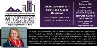 NAR Workshop - OREA 2019 Forms and Clause Revisions, Cassandra Agnew Walker