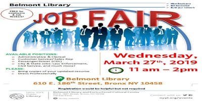 Belmont Library Job Fair: Wednesday, March 27th, 2019