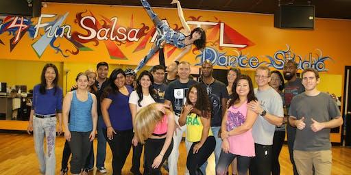 3-hr Beginner Salsa Boot Camp Atlanta @ Dancing4Fun Studio Saturdays