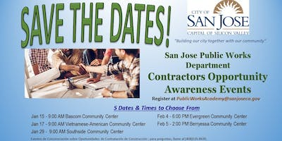City of San Jose, Public Works Contractors Opportunity Awareness Events
