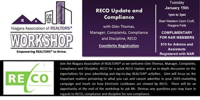 NAR Workshop - RECO Compliance with Glen Thomas, Manager Compliance, RECO