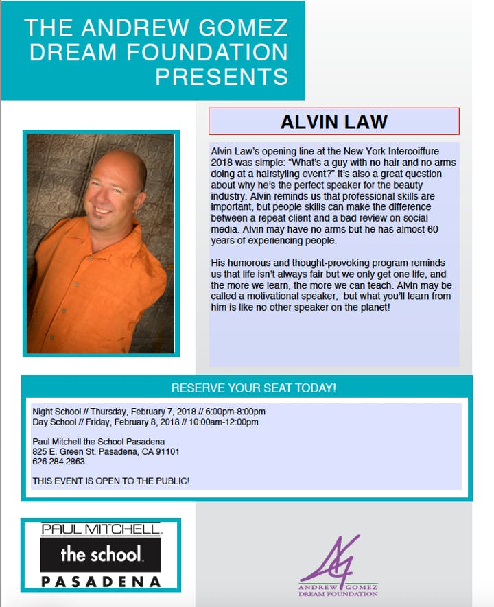 The Andrew Gomez Dream Foundation Presents Alvin Law Tickets Thu