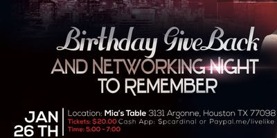 Birthday Give back and Networking Night to Remember