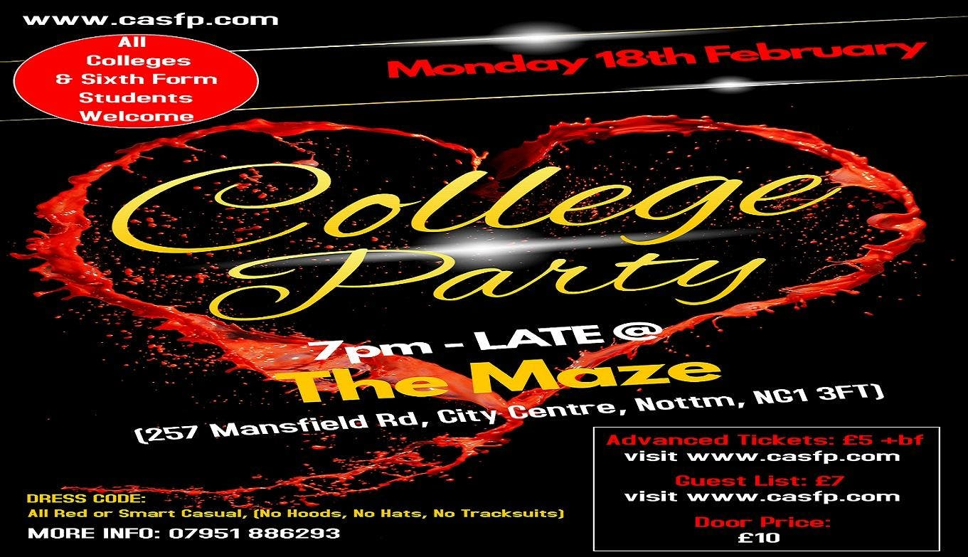 College Party Nottingham (Mon-18th-Feb) Early