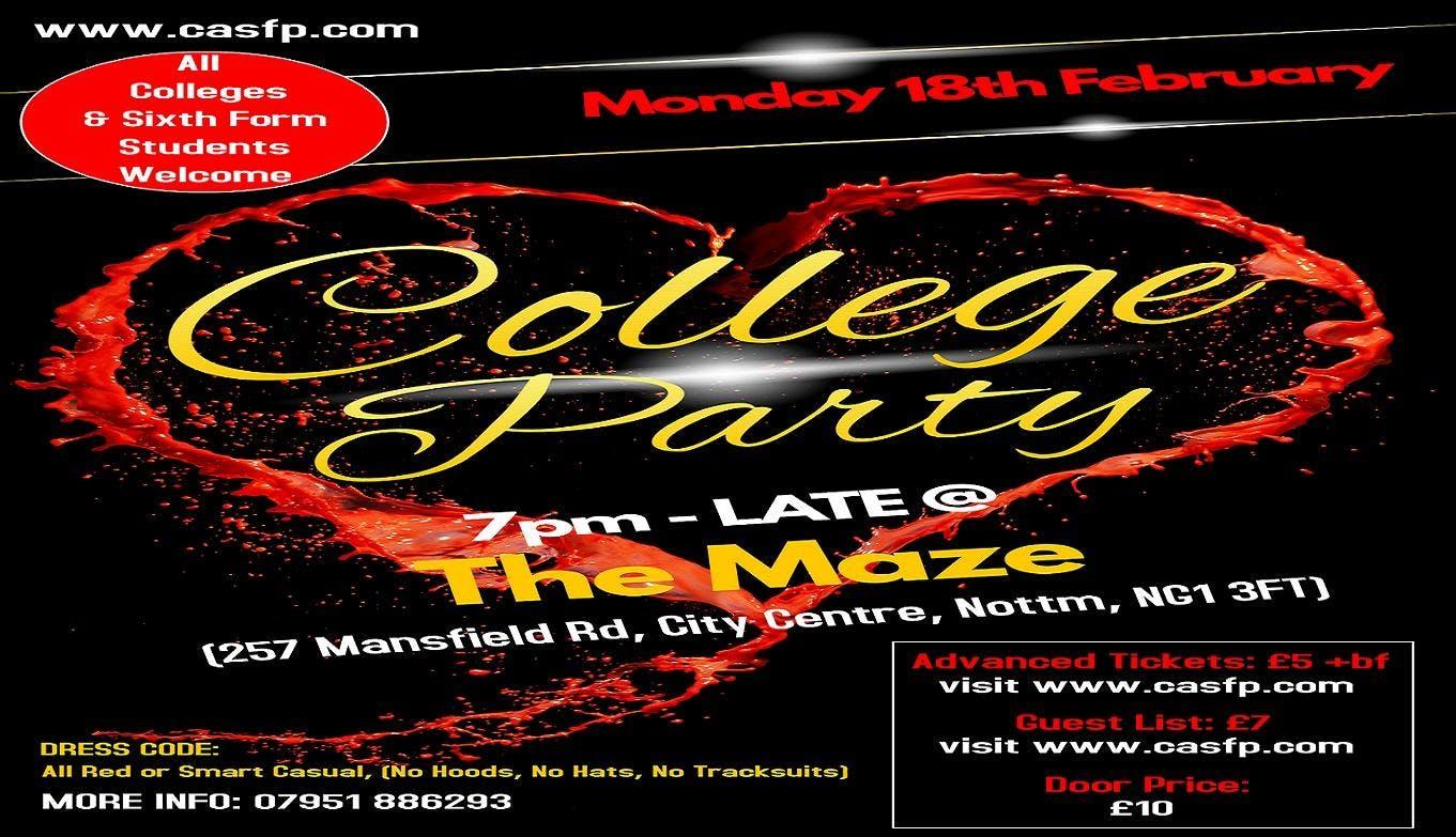 College Party Nottingham (Mon-18th-Feb)