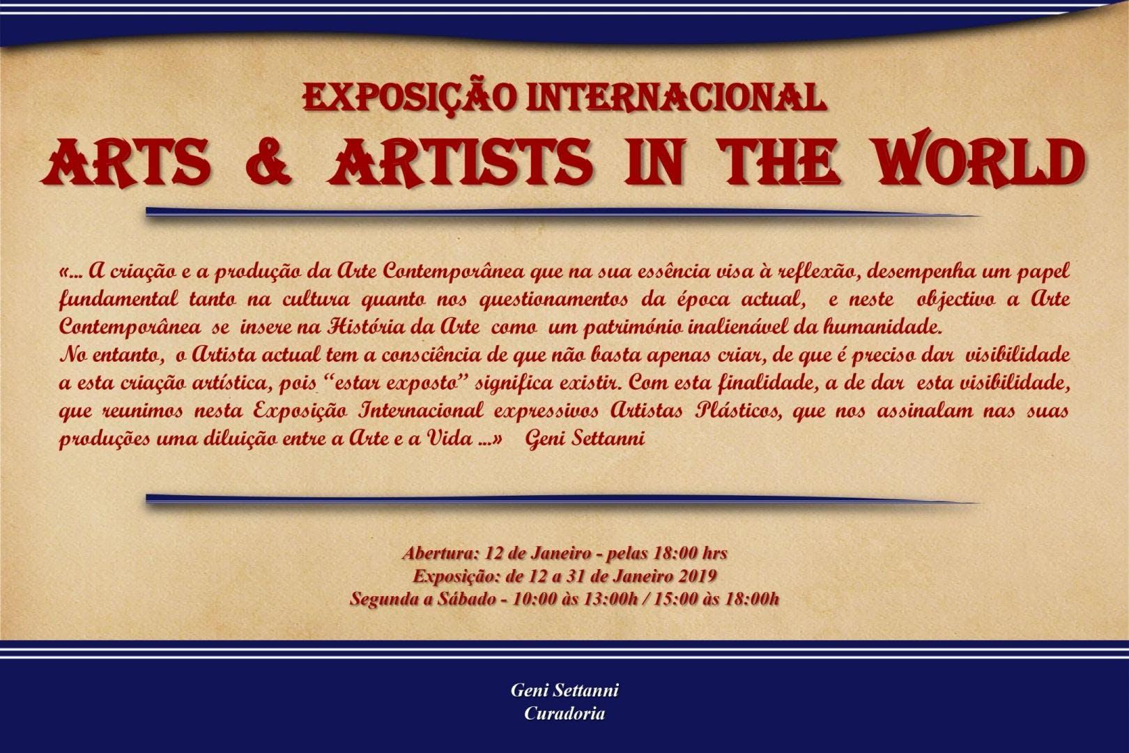 Exposição Internacional ARTS & ARTISTS IN THE WORLD - Portugal