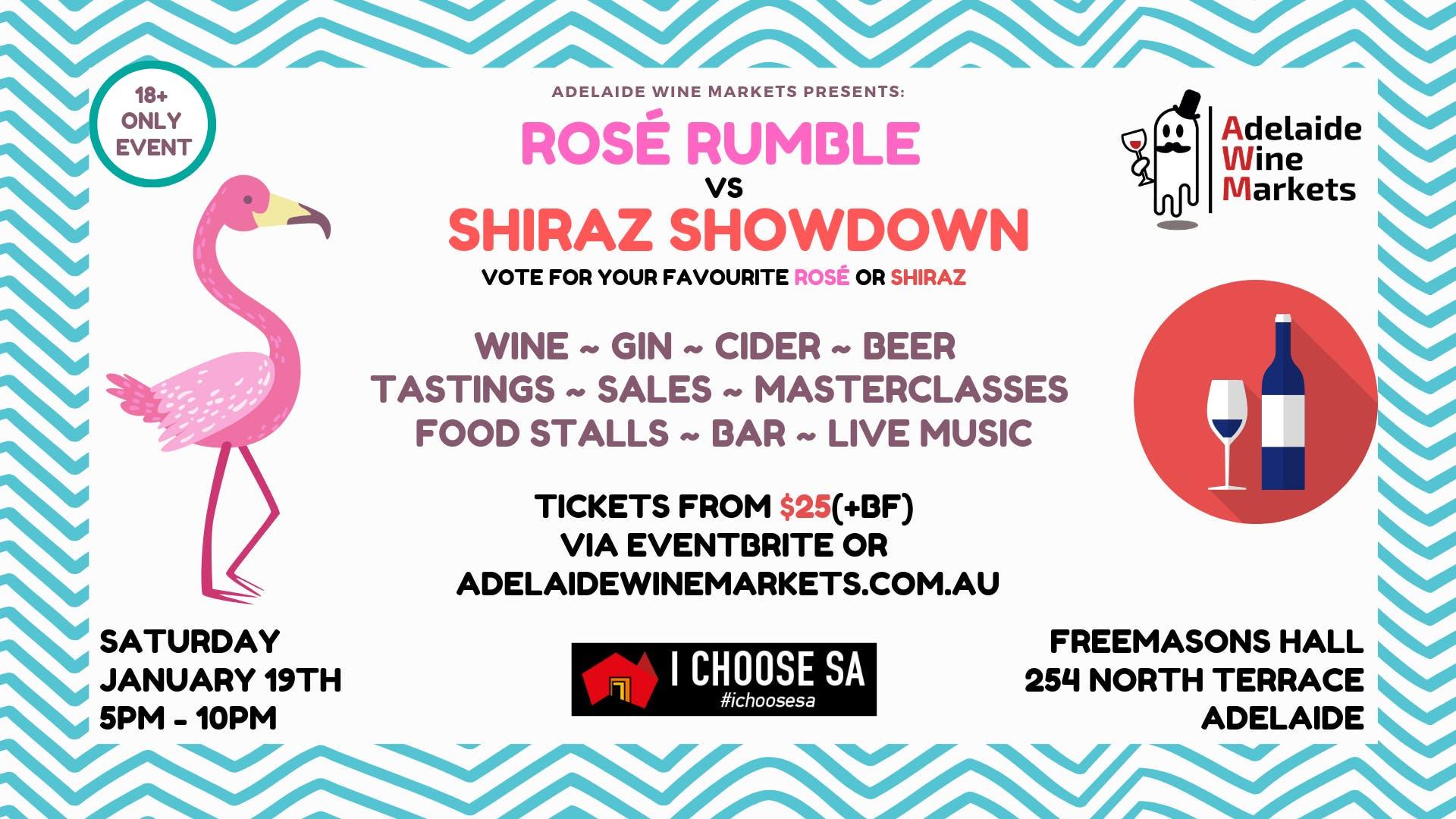 Adelaide Wine Markets - ROSÉ RUMBLE vs SHIRAZ SHOWDOWN