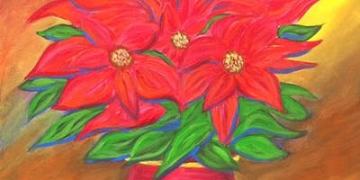 "Paint ""Poinsettias"" With Our Talented Artists At Art Time And Sip Wine Studios"
