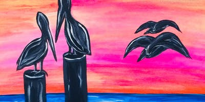 "Paint ""Pelican Perch"" With Our Talented Artists At Art Time And Sip Wine Studios"