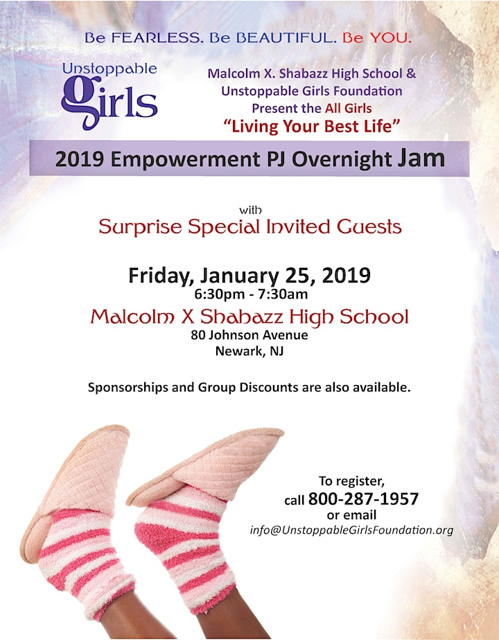 Unstoppable Girls & the SHE Club of Malcolm X Shabazz PJ Overnight Jam image