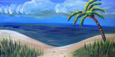 "Paint ""Hide Away Beach"" With Our Talented Artists At Art Time And Sip Wine Studios"