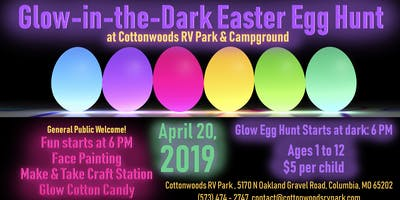 Glow in the Dark Easter Egg Hunt at Cottonwoods RV Park & Campground
