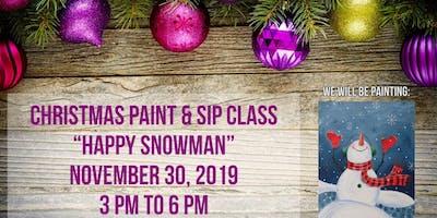 Happy Snowman Paint & Sip Class at Cottonwoods RV Park