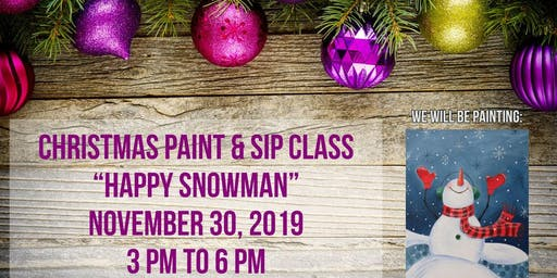 Happy Snowman Paint & Sip Class at Cottonwoods RV Park