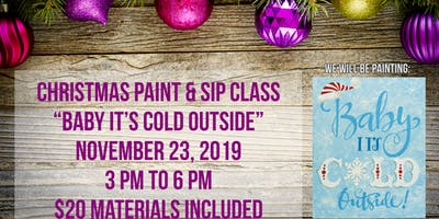 "Paint & Sip Class ""Baby It's Cold Outside"" Painting at Cottonwoods RV Park"