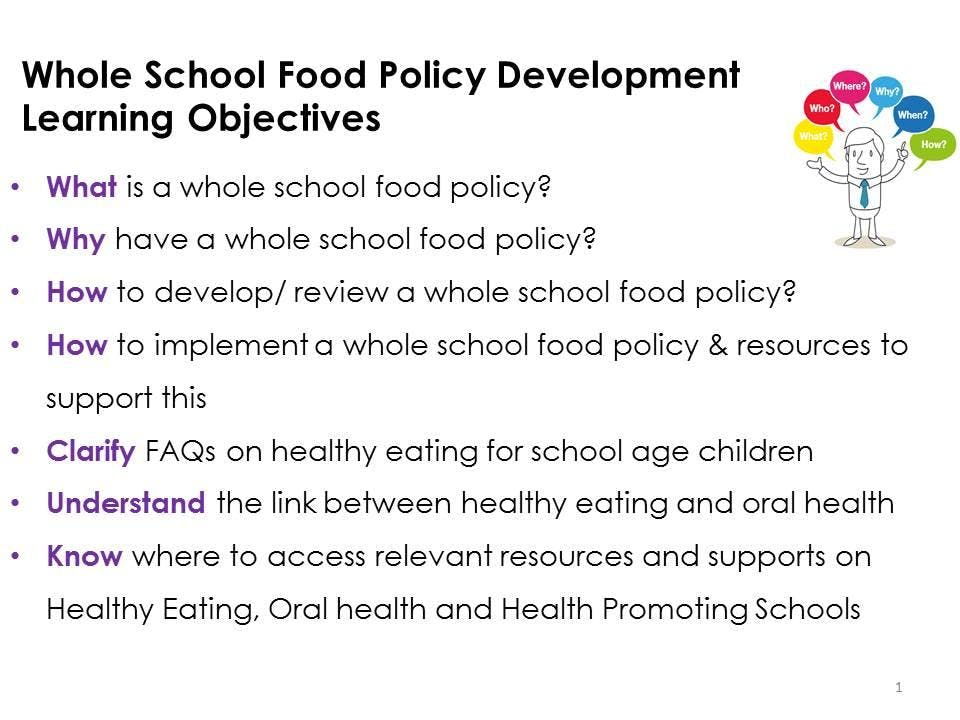HSE Training for Primary Teachers - Whole School Food Policy Development