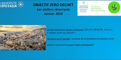 Mission UCA éco-responsable, les ateliers récurrents Objectif Zéro Déchet