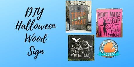 DIY Halloween Wood Sign tickets