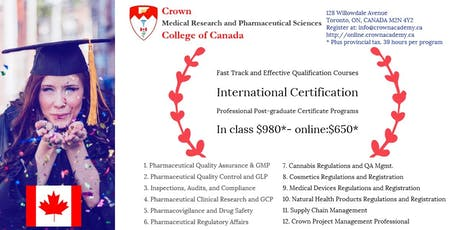 Start a career in the Pharmaceutical, Food or Cannabis fields in Canada tickets