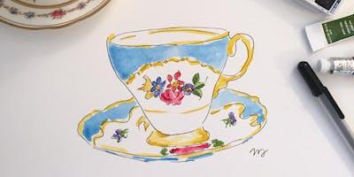 Vintage Tea Cup Watercolor Painting Workshop, Downtown Oakville, Tribeca Coffee Co.