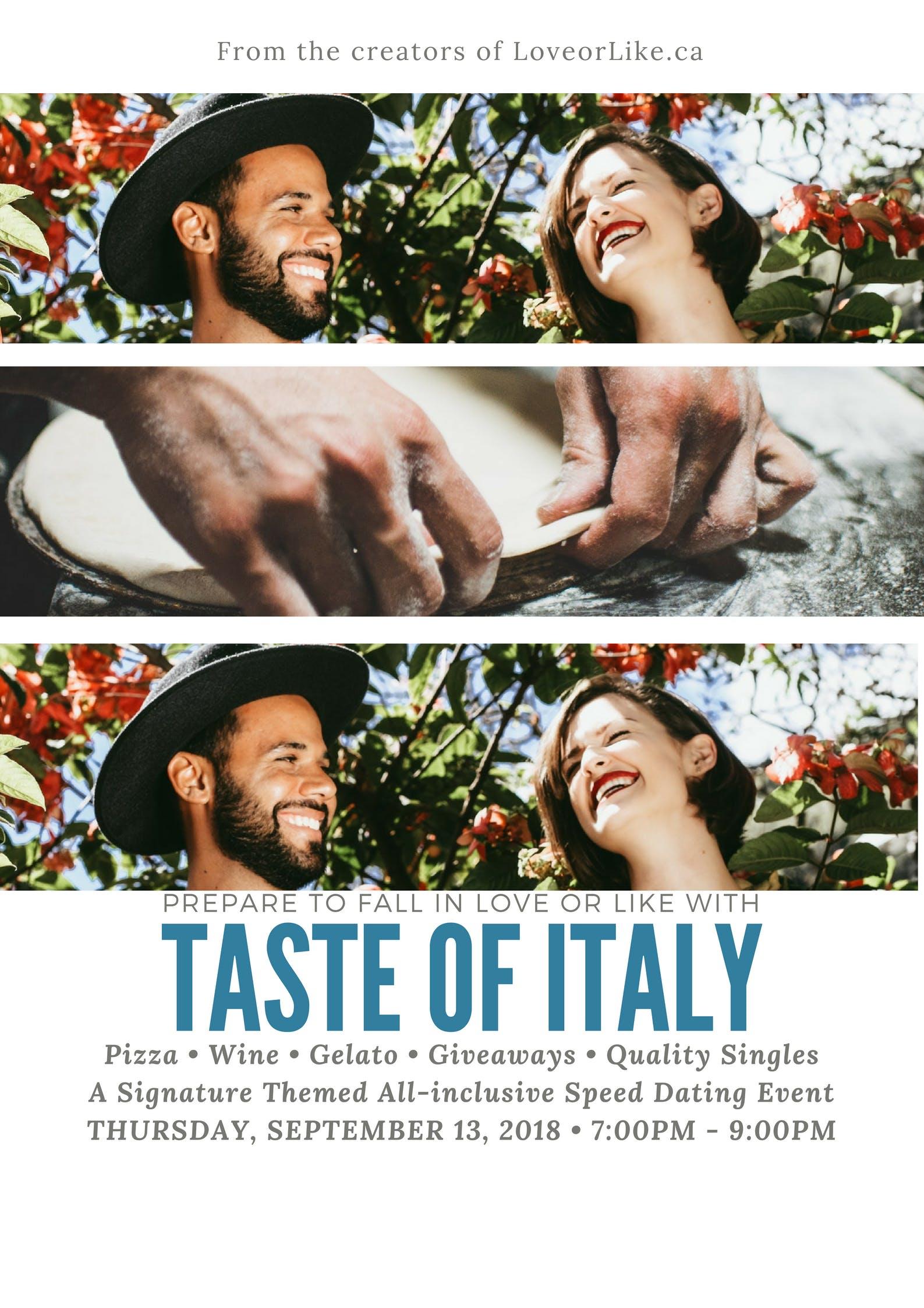 TORONTO SINGLES SPEED DATING - Mature Singles 40-50 - Taste of Italy theme ENCORE!  *Light Screening