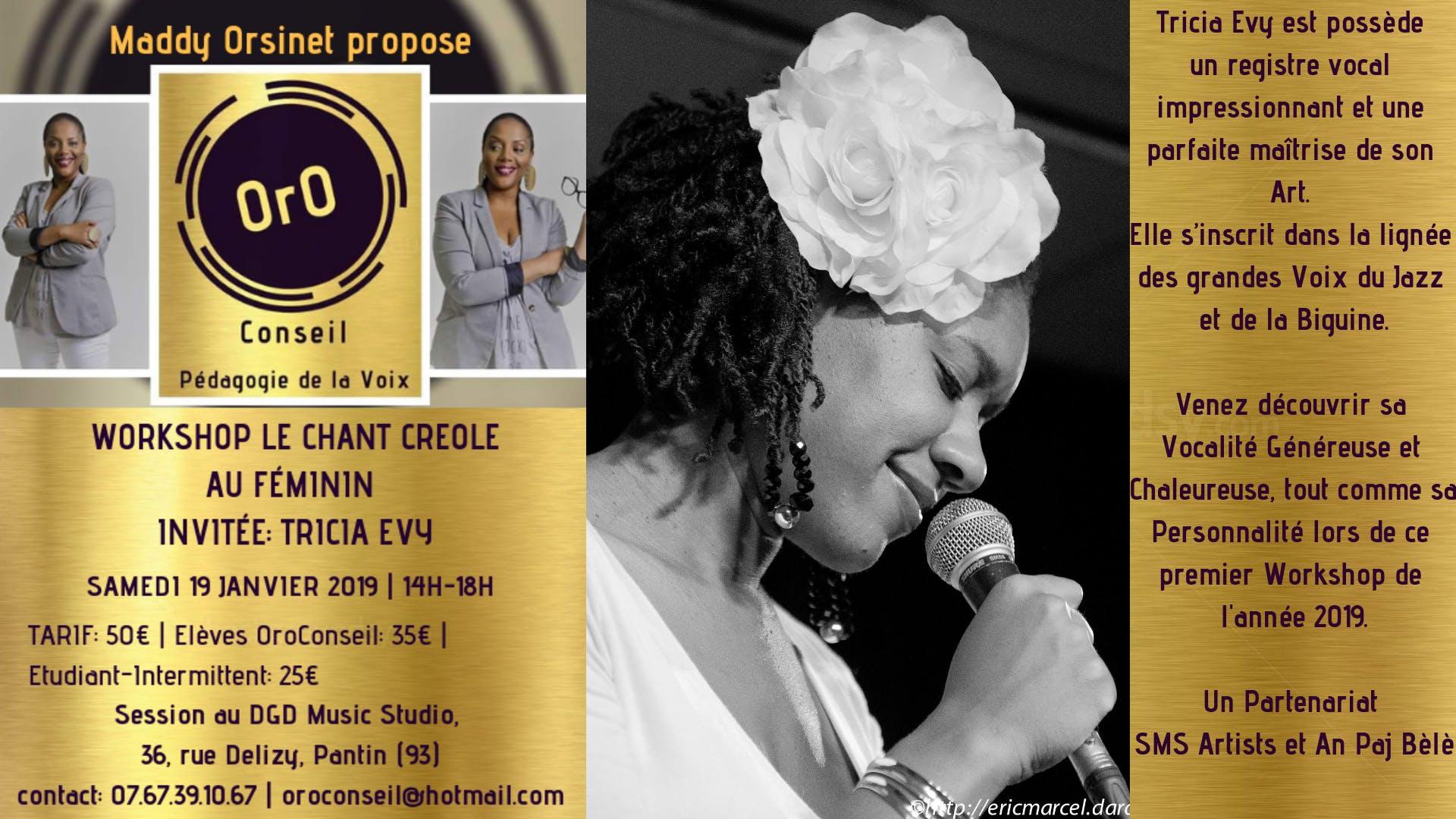 WORKSHOP LE CHANT CREOLE | Biguine & Jazz - OrO Conseil invite Tricia Evy