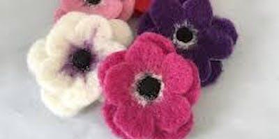 Needle Felting Flower Brooches