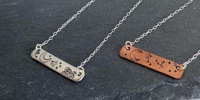 Stamped silver bar necklace workshop