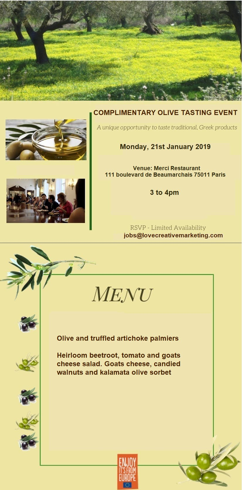 Complimentary food tasting event