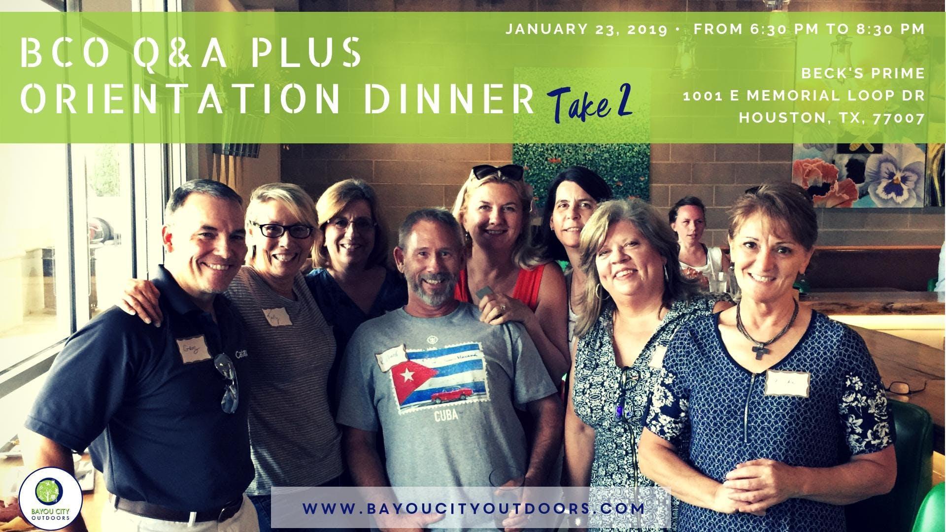 BCO Q&A plus Orientation Dinner - Take 2