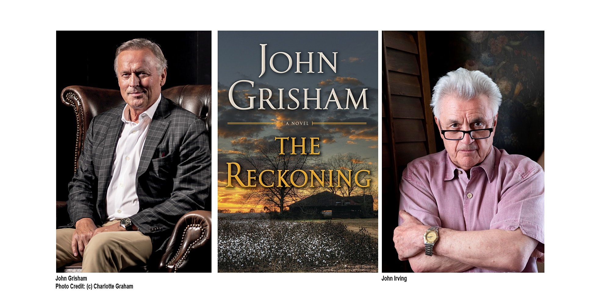 John Grisham and John Irving together on-stage in Toronto for the first time, Wednesday, February 20