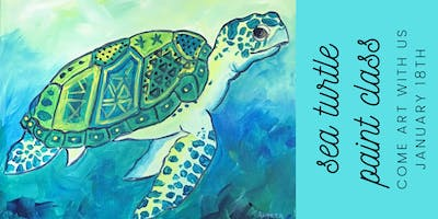 Whimsical Sea Turtle on 16 x 20 Canvas
