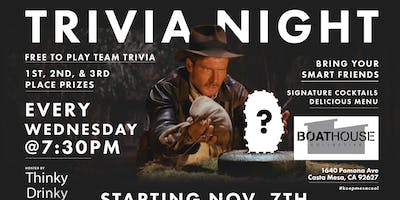 Free Trivia Wednesdays at Boathouse Collective