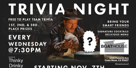 Free Trivia Wednesdays at Boathouse Collective tickets
