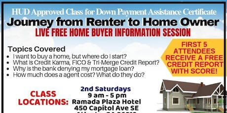 JOURNEY FROM RENTER TO HOME OWNER: HUD APPROVED CLASS FOR DOWN PAYMENT ASSISTANCE CERTIFICATE tickets