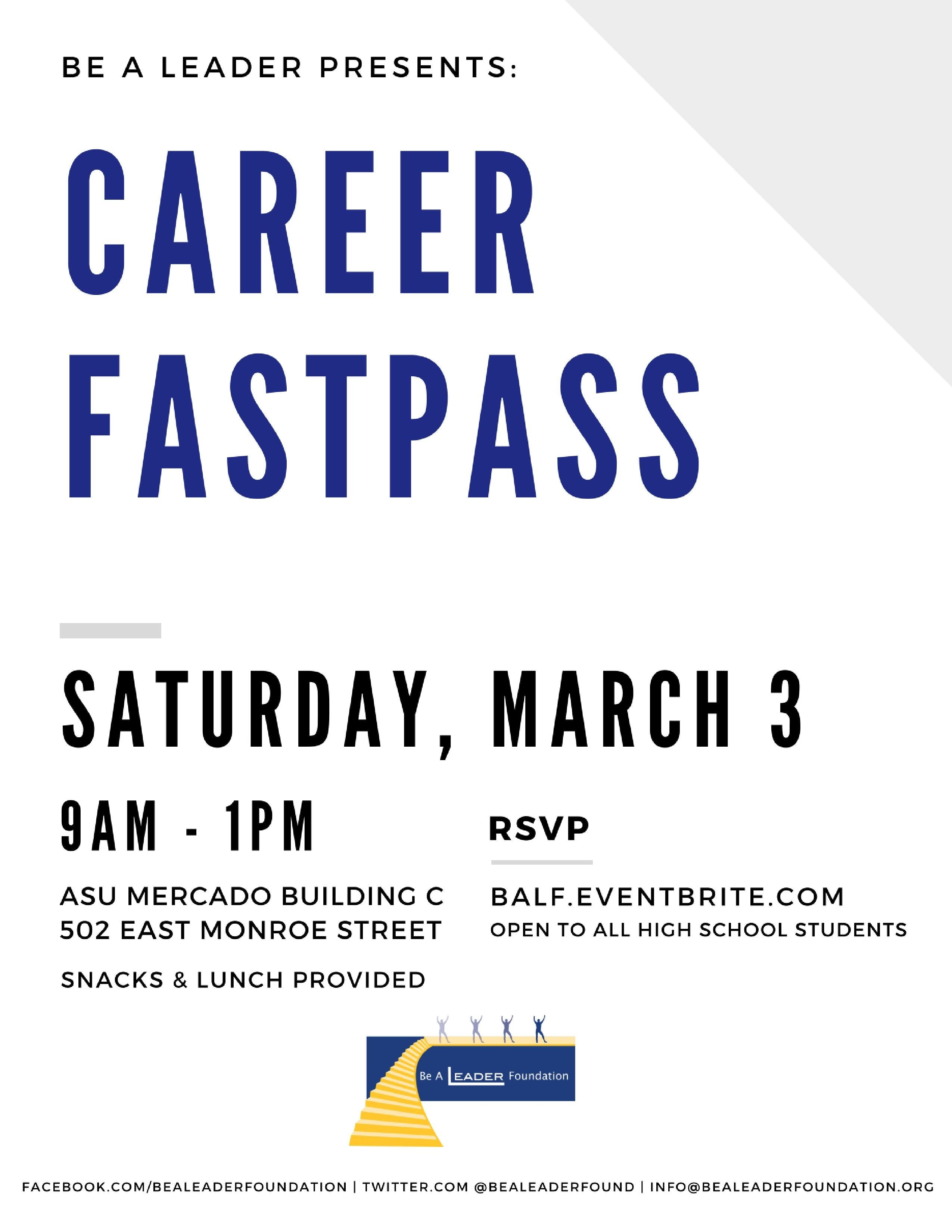 Career Fastpass (Be A Leader March 2019 High School Workshop)