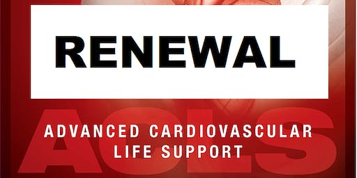 AHA ACLS Renewal October 7, 2019  (INCLUDES Provider Manual and FREE BLS!) from 9 AM to 3 PM at Saving American Hearts, Inc. 6165 Lehman Drive Suite 202 Colorado Springs, Colorado 80918.