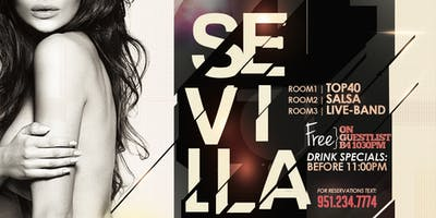 THE BIGGEST SATURDAY NIGHT @SEVILLARIVERSIDE! FREE ENTRANCE, 3 ROOMS, 6 DJS, DRINK SPECIALS! TXT9512347774