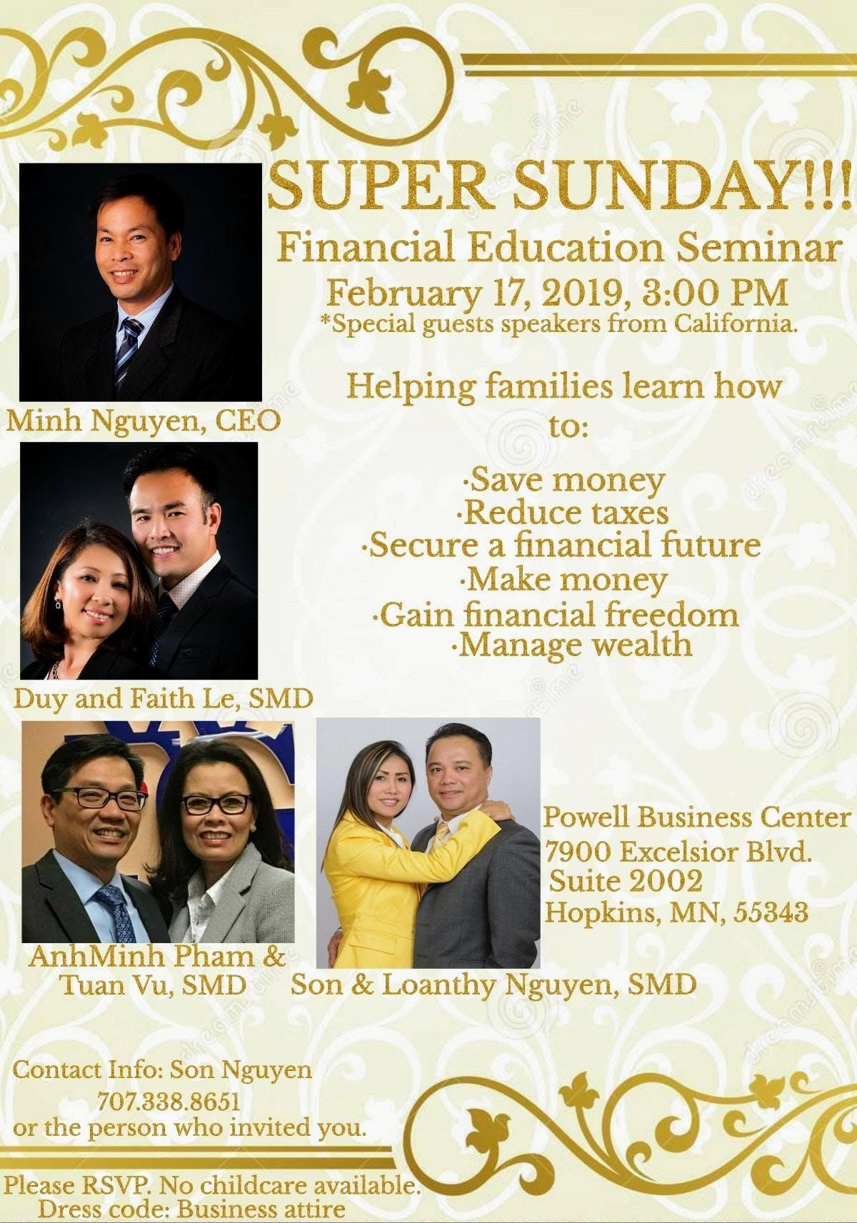 Super Sunday, Financial Education Seminar