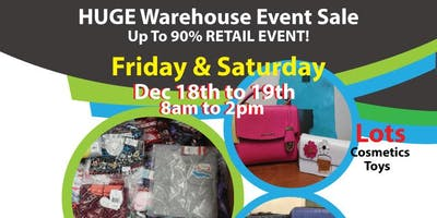 HUGE Warehouse Sale Event!  at up to 90% off retail cost! NEW YEAR SALE!