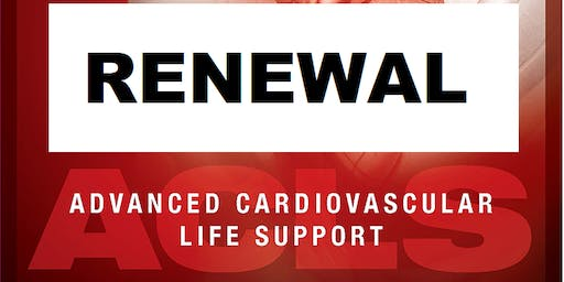 AHA ACLS Renewal September 9, 2019  (INCLUDES Provider Manual and FREE BLS!) from 9 AM to 3 PM at Saving American Hearts, Inc. 6165 Lehman Drive Suite 202 Colorado Springs, Colorado 80918.