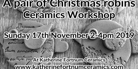 A pair of robins Christmas ceramics workshop tickets