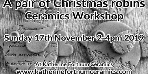 A pair of robins Christmas ceramics workshop