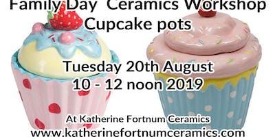 Cupcake pot family day ceramics workshop