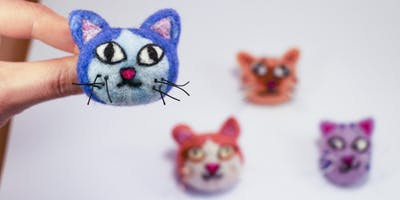 Needle Felted Kitty Brooch Workshop - to benefit 350PDX