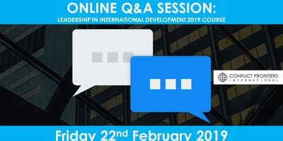 Online Q&A Session: Leadership in International Development 2019 Course