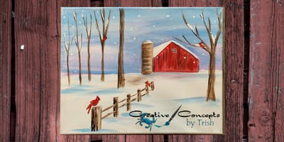 Snow in the Country Canvas or Slate Paint Night