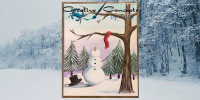 Snowman with Scarf Paint Night